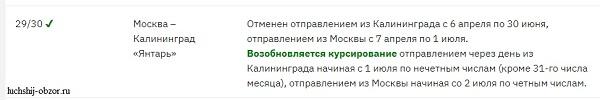 Про отмену поезда Москва Калининград в 2020 году